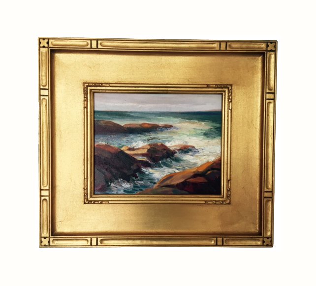 Evelyn Rhodes - Beavertail Surf, West Passage - 8in x 10in framed RCVD 6.11.15 B