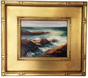 Evelyn Rhodes - Beavertail Surf, West Passage - 8in x 10in framed RCVD 6.11.15 B