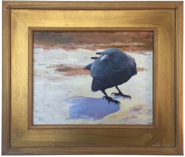Evelyn-Rhodes----Original-Oil-on-Canvas---Crow-in-Snow-11in-x-13in--NFS