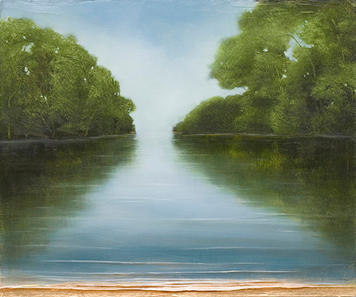 Jessica Pisano - Afternoon Reflection - oil and gold leaf on panel - 20 x 24 - Retail 2000