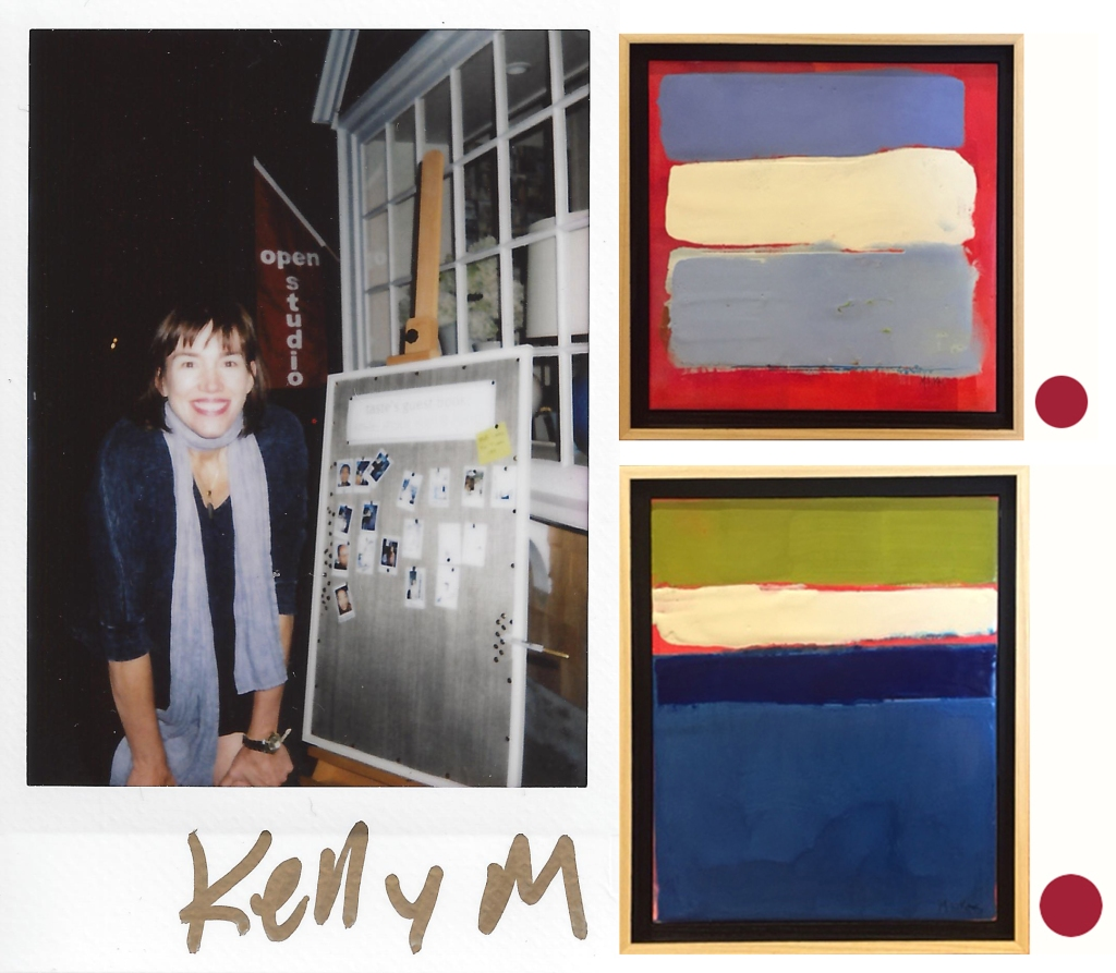 polaroid 5 kelly milukas with sold paintings