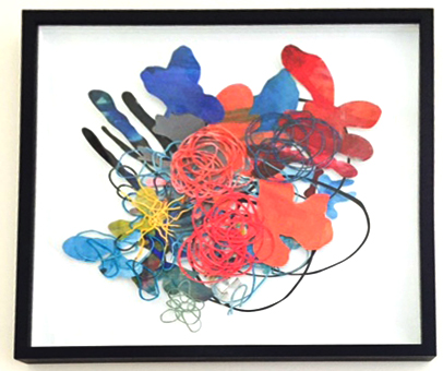 027A - Barbara Owen - Layered Abstraction Garden - Acrylic & Ink on Cut Paper - 20 x 20 - 950