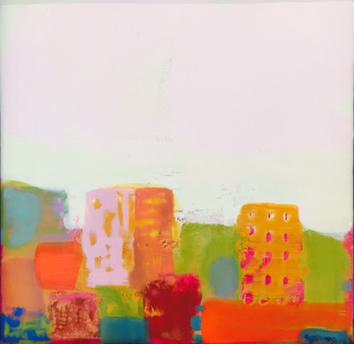 046A - Milukas -Orange City - 8 x 8 - Encaustic Painting in Custom Ash Frame - 695