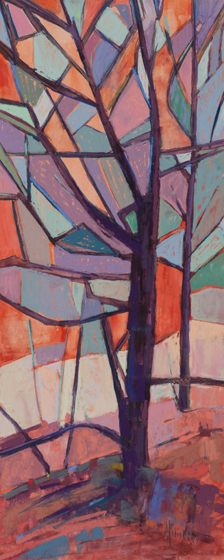 060- A Milukas - Tree Chatter - 9 x 21 - Pastel, Float Maple Frame, Museum Glass - 1200