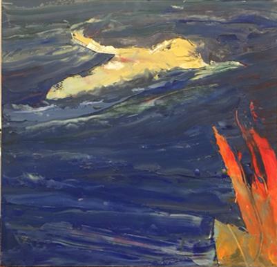 15 - Strauss - Long Swim - 18 x 18 - oil on panel - 1100
