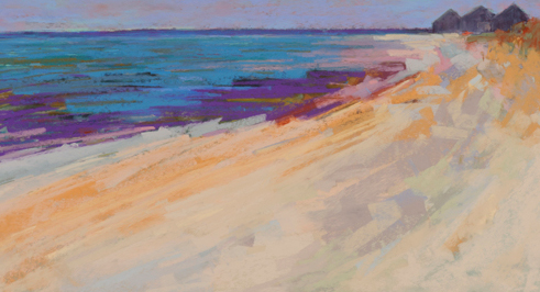 21 - Milukas - Sand and Structure - 10 x 19 - Pastel, Custom Float Maple Frame, Museum Glass - 1100