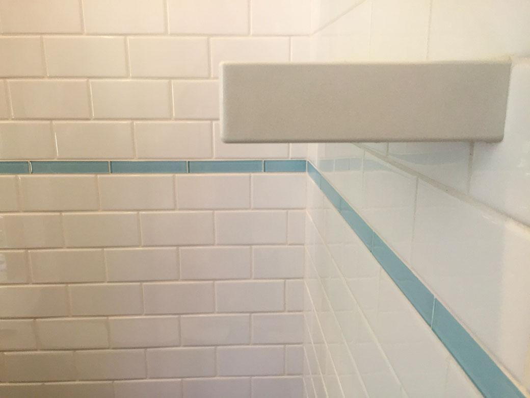 Pool House Bathroom Shower Tile Walls And Shelf